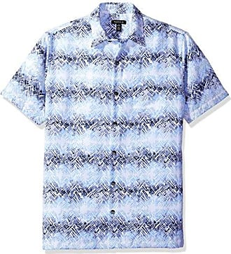 Van Heusen Mens Oasis Printed Short Sleeve Shirt, Blue/Clear Air, Small