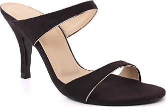 Unze Unze Unze Women Stella Mid High Heel Slipon Sandals UK Size 3-8 Black