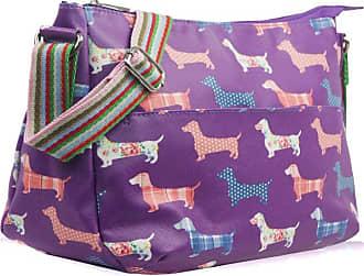 Your Dezire Womens Ladies Oilcloth Sausage Dogs Cross Body Messenger Bag Women Shoulder Tote Satchel Handbag Purple