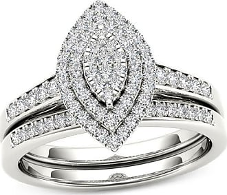 Zales 1/3 CT. T.w. Composite Diamond Double Marquise Frame Bridal Set in 10K White Gold