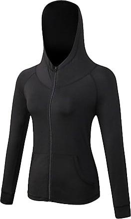 YiJee Womens Quick Dry Running Yoga Slim Sweatshirts Sports Hooded Jacket Black M