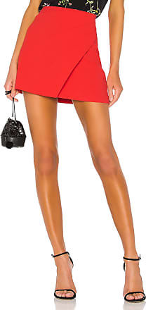 Alice & Olivia Shaylee Asymmetrical Drape Wrap Mini Skirt in Red