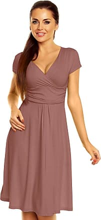 Zeta Ville Womens - Wrap V-Neck Flare Summer Dress - Short Sleeves - 108z (Cappuccino, UK 14, XL)