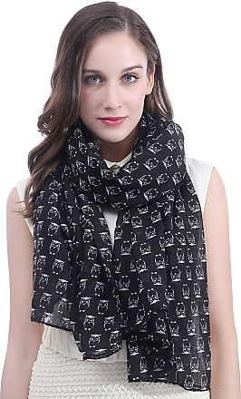 Lina & Lily Owls Print Large Scarf Shawl Lightweight (Black)(Size: 180cm x 90cm)