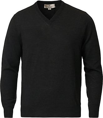 Canali Merino Wool V-Neck Charcoal