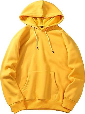 junkai New Mens Sports Sweater Hooded Blank Pullover Hoody Sweatshirt Fleece Tops Yellow 2XL