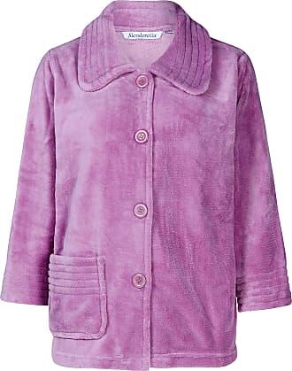 Slenderella Ladies 3/4 Sleeve XX Large Soft Lilac Purple Fleece Button Up Bed Jacket