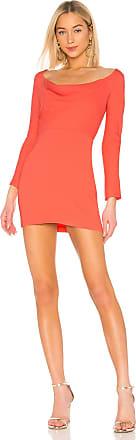 Michelle Mason Off Shoulder Cowl Mini Dress in Coral