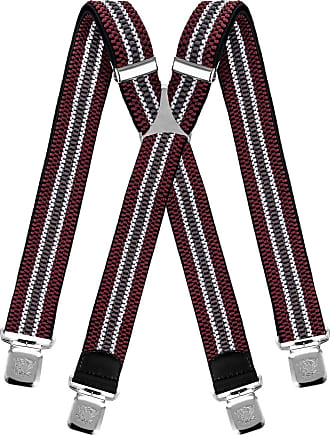 Decalen Mens braces wide adjustable and elastic suspenders X shape with a very strong clips Heavy duty (Maroon Baby Blue Grey)