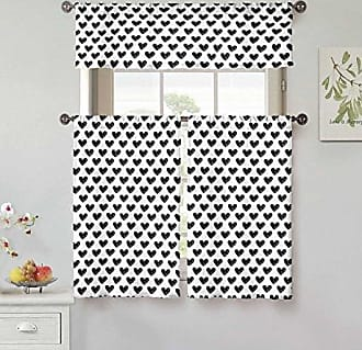 Kensie Roza 100% Cotton Heart Print Kitchen Tier & Valance Set   Small Window Curtain for Cafe, Bath, Laundry, Bedroom, Black