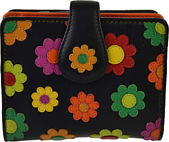 Visconti Ladies Leather Small Flower Design Tabbed Purse Wallet by Visconti; Daisy Collection Gift