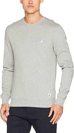 Original Penguin Mens Crew Neck Sweat Sweatshirt, Grey (Rain Heather), X-Large