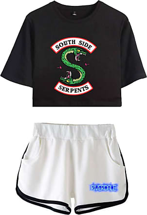 OLIPHEE Women Casual Tracksuits 2pc Tops and Shorts Pyjama Sets Riverdale Summer T-Shirt Striped Sport Wear Printed with South Side Serpent 5760 Black White M