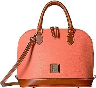 Dooney & Bourke Pebble Zip Zip Satchel (Coral/Tan Trim) Satchel Handbags