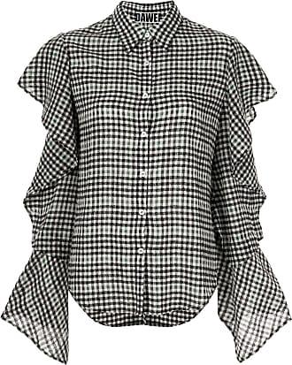 DAWEI Camisa com babados nas mangas - Preto