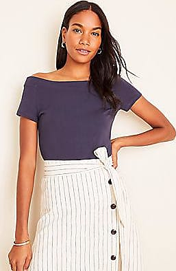 NWT Ann Taylor Off Shoulder Shirt Top Black and White Striped Large