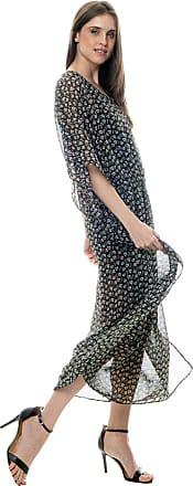 101 Resort Wear Vestido Kaftan 101 Resort Wear Longo Crepe Estampado Floral Off Fundo Preto