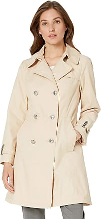 Vince Camuto Womens Double-Breasted Trench Coat Rain Jacket Anorak, Sandcastle, Medium