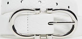 Glamorous Weißer Hüft- und Taillengürtel in Kroko-Optik mit doppelter Schnalle in Gold