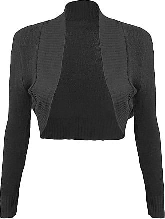 Momo & Ayat Fashions Ladies Girls Knitted Bolero Plain Ribbed Collar Shrug UK Size 8-14 (M/L (UK 12-14), Black)