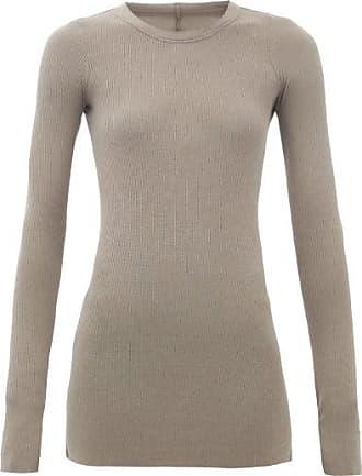 Rick Owens Long-sleeved Ribbed-jersey T-shirt - Womens - Grey
