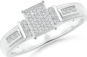 Angara Valentine Day Sale - Channel-Set Bar Diamond Rectangle Cluster Engagement Ring