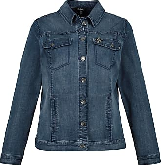Ulla Popken Womens Plus Size Soft Washed Denim Jacket Blue Denim 22 723892 92-48