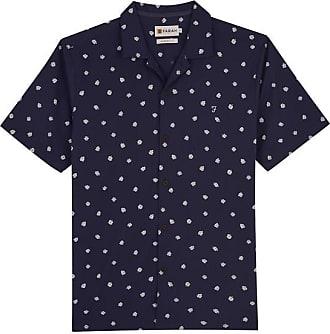 Farah Keene bedrucktes S S Shirt Navy - X-Large