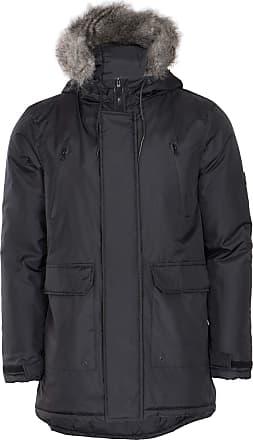 Noroze Mens Parka Coat Heavy Weight Faux Fur Hood Waterproof Jacket Winter Padded Overcoat (S, Black)