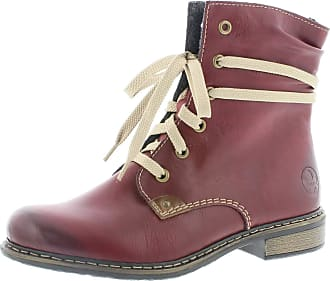 Rieker Women Ankle Boots 71229, Ladies lace Ankle Boot, Boots,Chukka Boot,Half Boots,Lace Bootie,Lined,Winter Boots,Wine,42 EU / 8 UK