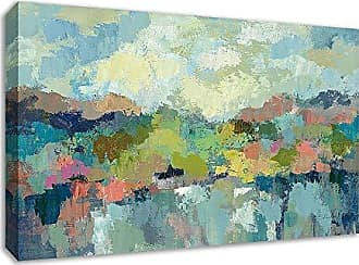 Tangletown Fine Art Abstract Lakeside by Silvia Vassileva Gallery Wrap Canvas, Blue/Green/Pink