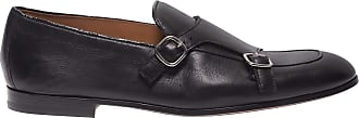 Doucal's Black Leather Monk Straps, 43.5