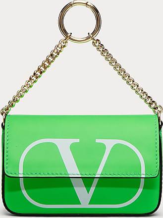 Valentino Garavani Valentino Garavani Mini Pouch Con Catena Vlogo In Vitello Fluo Donna Verde Fluo 100% Pelle Bovina - Bos Taurus OneSize