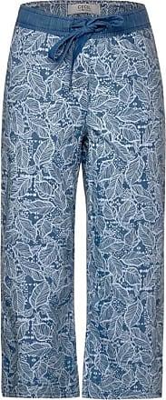 Cecil Wide Leg Hose in 3/4-Länge - light blue used wash