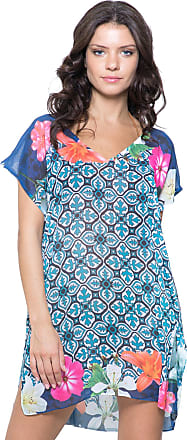 101 Resort Wear Blusa 101 Resort Wear Saida de Praia Crepe Estampada Floral Azul