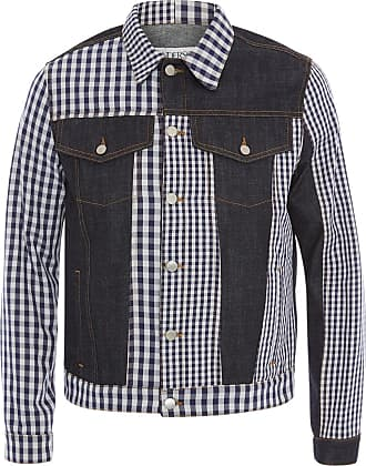 J.W.Anderson Jaqueta jeans xadrez com patchwork - Roxo