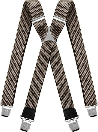 Decalen Mens braces wide adjustable and elastic suspenders X shape with a very strong clips Heavy duty (Beige)