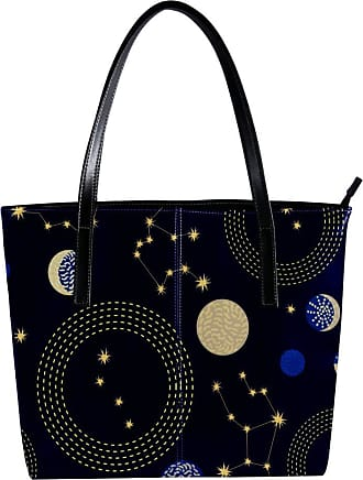 Nananma Womens Bag Shoulder Tote handbag with Constellations Crescent Moon and Circlres Print Zipper Purse PU Leather Top-handle Zip Bags