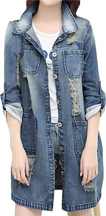 JERFER Women Ripped Long Denim Coat Ladies Casual Jacket Outwear Jeans Overcoat Autumn Cardigan Fall Coat for Womens