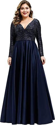 Ever-pretty Womens V Neck Long Sleeve Sequin Floor Length A line Elegant Plus Size Mother of The Bride Dresses Navy Blue 28UK