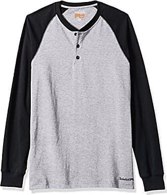 Timberland Mens Cotton Core Long-Sleeve Henley Shirt, Light Heather Grey/Black, 2X-Large