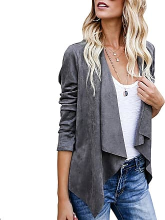 iShine Women Autumn Winter Lightweight Jackets Lapel Faux Suede Leather Motorcycle Jacket Long Sleeve Solid Slim Short Casual Coat Tops Outwear