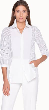 Akris Blouse with Foil Pleats and Shirt Collar
