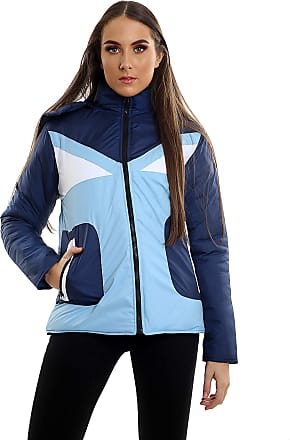 Parsa Fashions Womens Contrast Fancy Quilted Padded Puffer Warm Thick Zipper Jacket Ladies Winter Coat (XL, Navy - Sky)