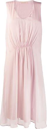 120% Lino ruched sleeveless midi dress - Pink