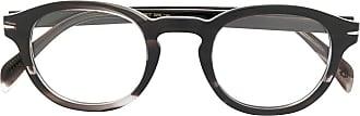 David Beckham Armação de óculos redonda marmorizada - Cinza