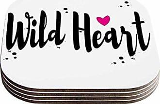 KESS InHouse Suzanne CarterWild Heart2 Black Digital Coasters (Set of 4), 4 x 4, Multicolor