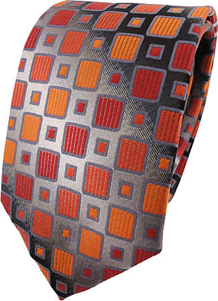 TigerTie tie necktie in orange-red silver-gray black checked