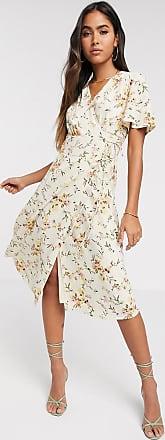 Vero Moda wrap midi dress in cream floral-Multi