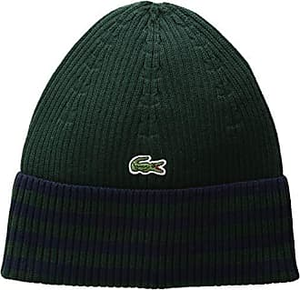 edb0d1de74 Lacoste Mens Striped Cotton Beanie, Sinople/Navy Blue One Size
